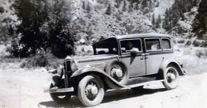 Pat Tracy driving his Willys Knight in CO 1932